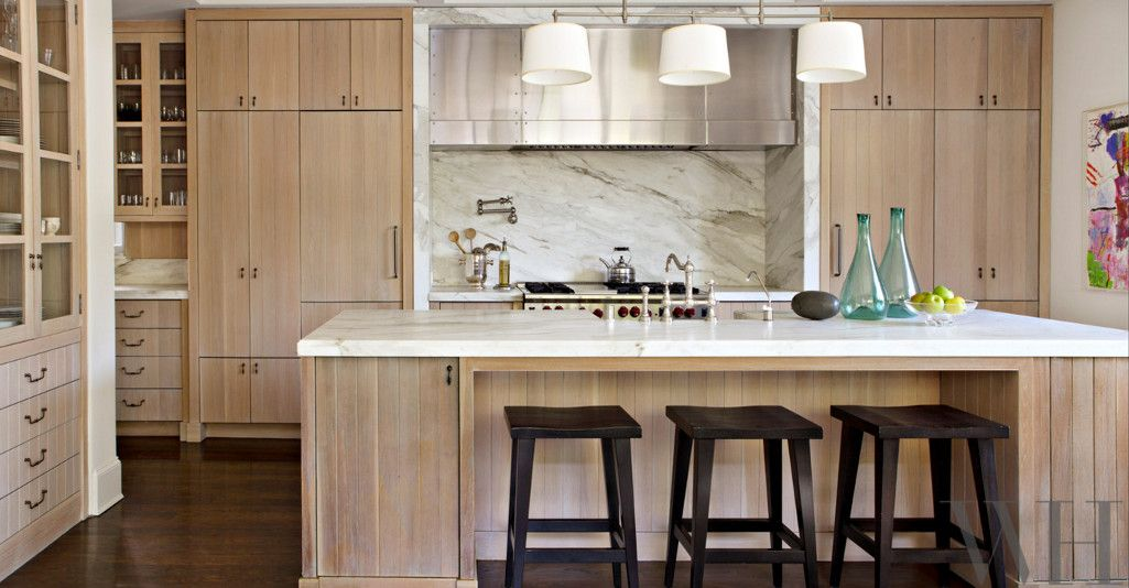 White Kitchen Oak limed oak kitchen cabinets - rift sawn oak plank cabinets in a