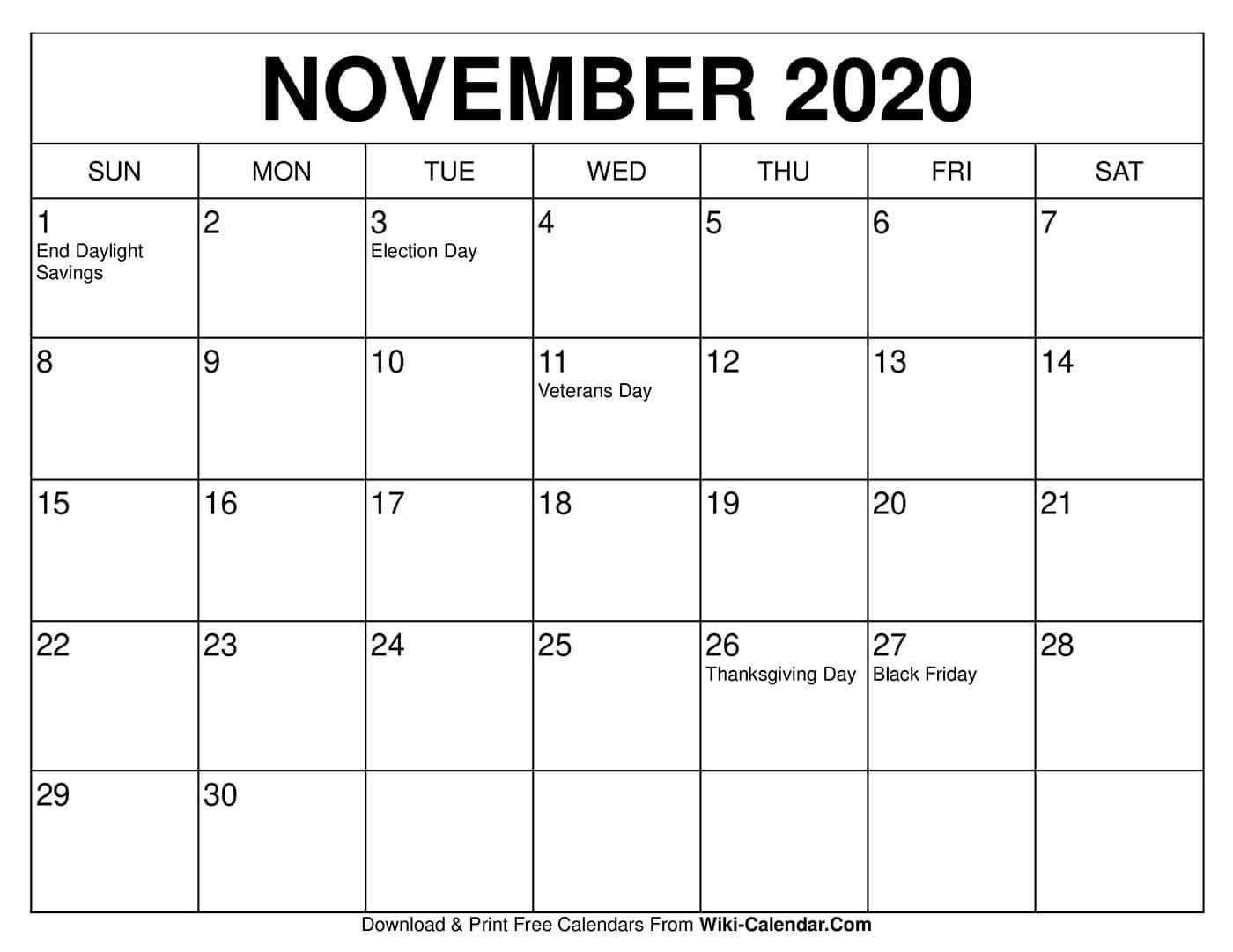Free Printable November 2020 Calendars In 2020 November Calendar 2020 Calendar Template Calendar Template