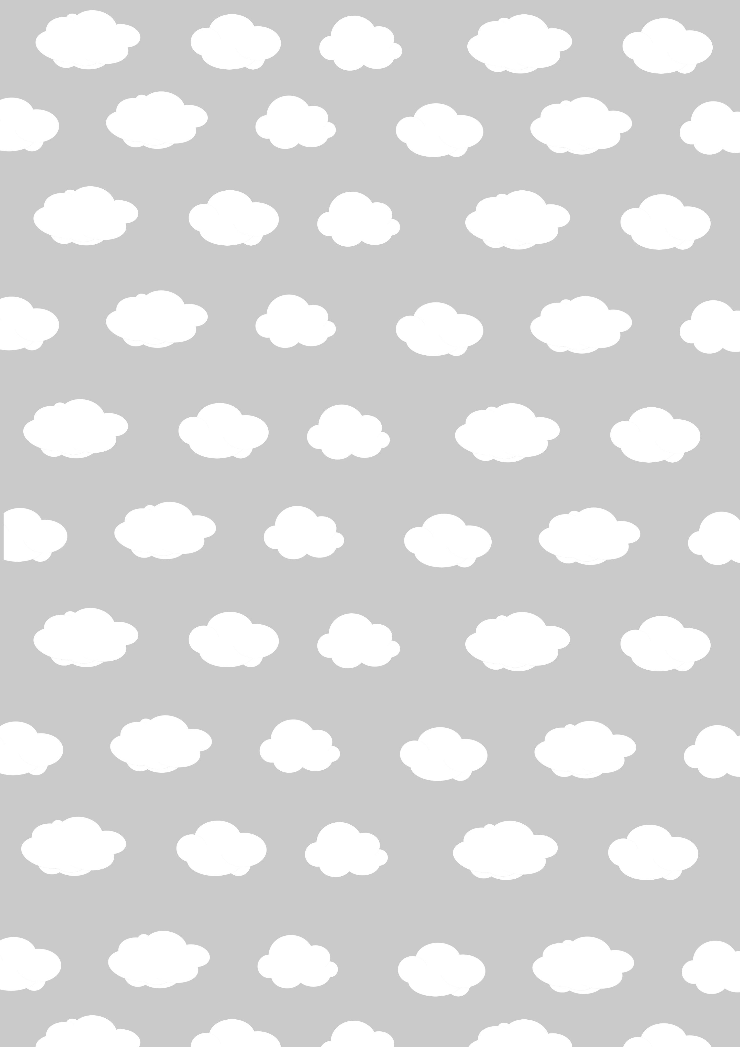 無料ダウンロード モノトーンのラッピングペーパー10 その7 白黒 壁紙 雲 イラスト かわいい 雲の壁紙