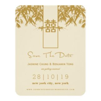 Gold modern bamboo zen chinese wedding save the date 425x55 paper gold modern bamboo zen chinese wedding save the date 425x55 paper invitation card stopboris Image collections