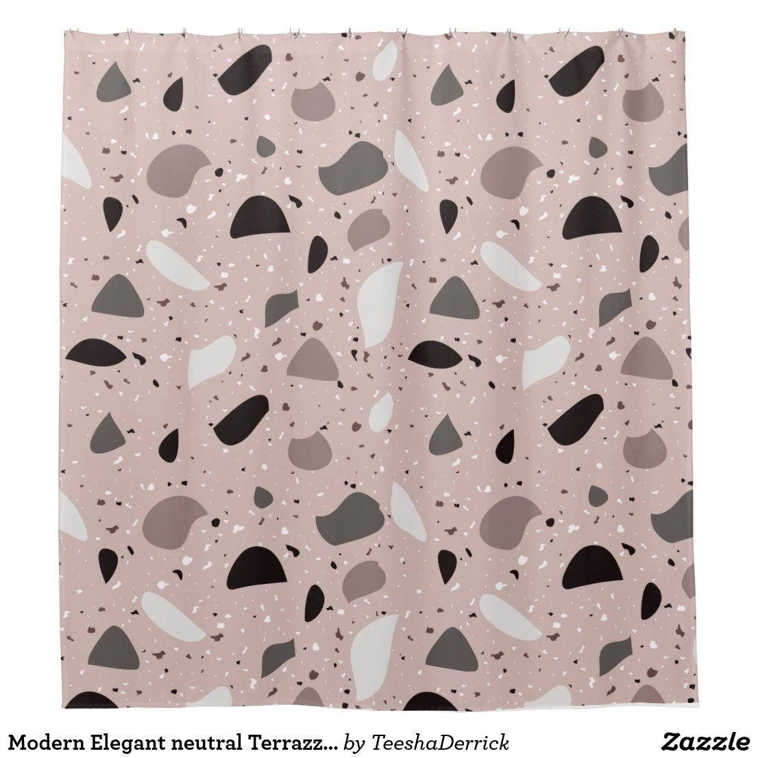 Modern Elegant neutral Terrazzo Natural Patterns Shower Curtain | Zazzle.com