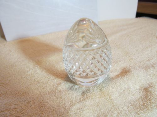 Nice-3-1-2-tall-solid-clear-glass-egg-shaped-paperweight-marked-France