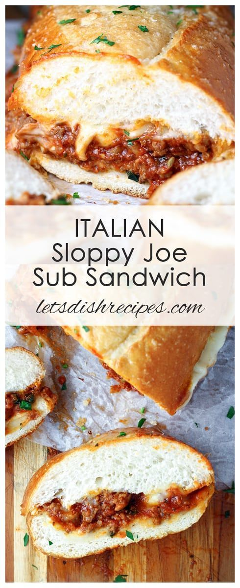Italian Sloppy Joe Sub Sandwich Recipe: These hearty meat sandwiches are loaded with beef, sausage and mozzarella cheese and are great for serving a crowd. They're perfect for game day too! #gameday #recipes #sloppyjoes #sandwiches