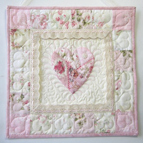 Shabby Cottage Chic Wall Quilt Heart by LittleTreasureQuilts ... acbb1c3929