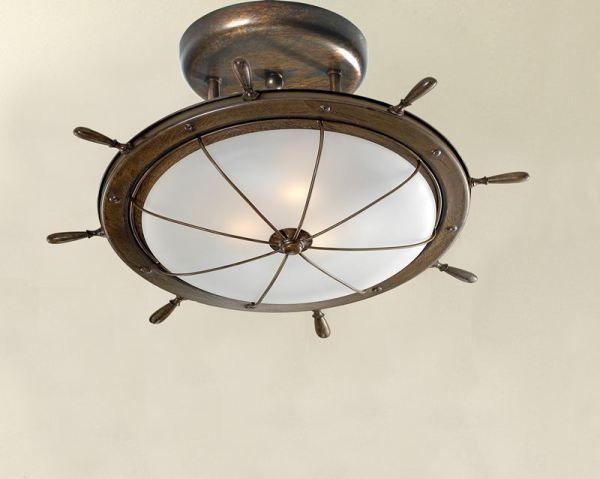 Solid Brass Ship S Wheel Motif Ceiling Fixture Nautical Light Fixtures