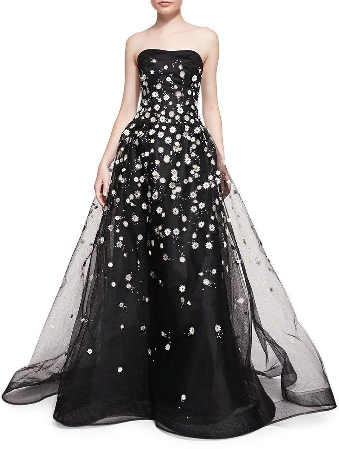 Carolina Herrera Strapless Ball Gown W Embroidered Daisies Fashion
