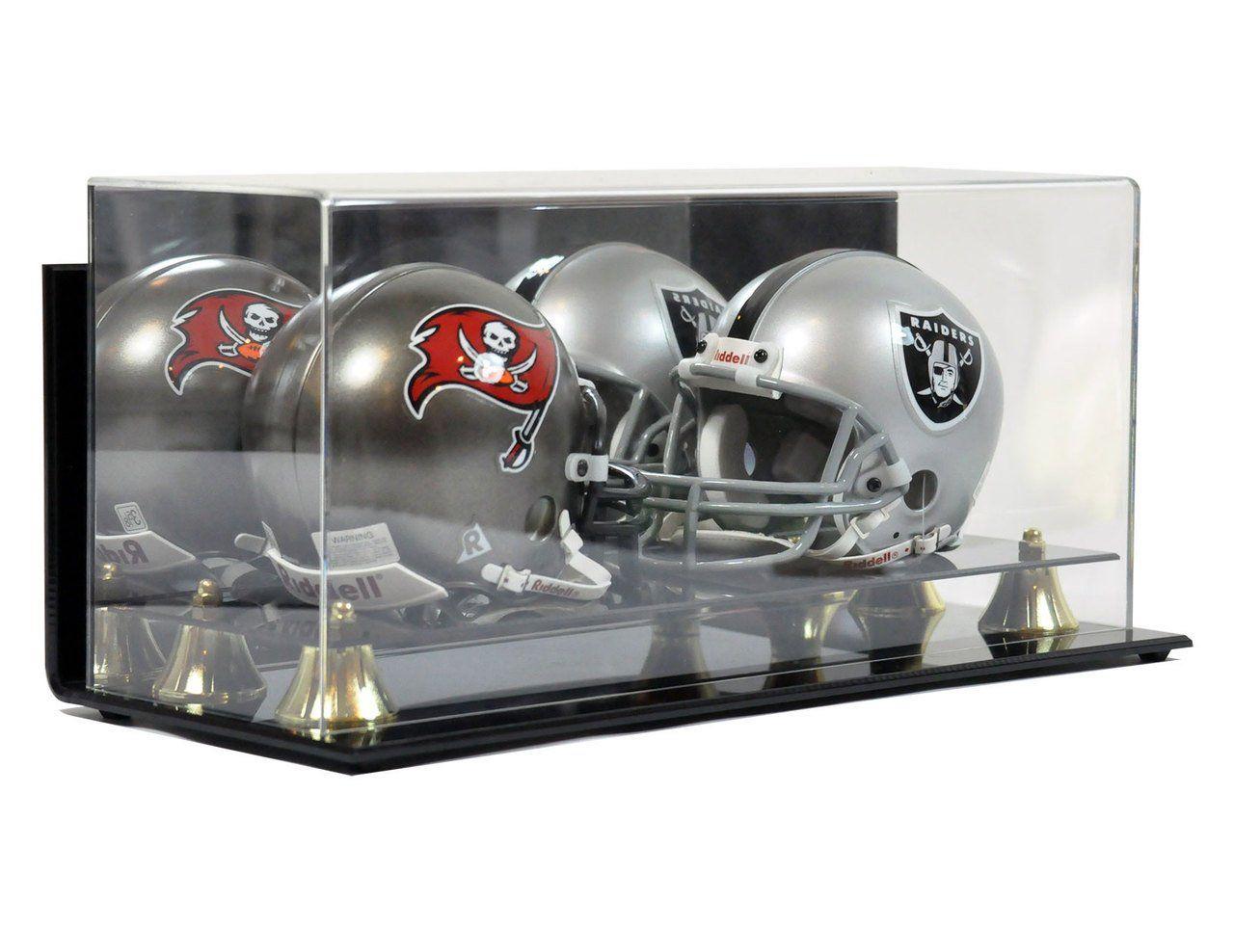 Double mini football helmet premium display case with wall