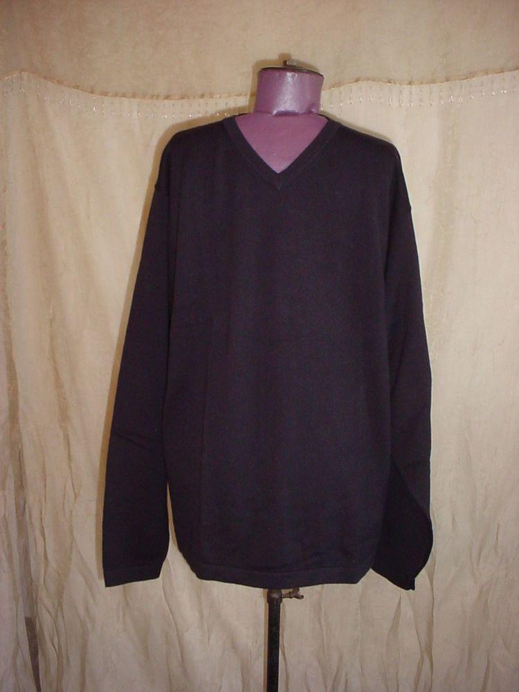 Munsingwear Black V Neck Sweater Mens Large NEW NWT Long Sleeve Cotton #MunsingWear #VNeck Seller florasgarden on ebay