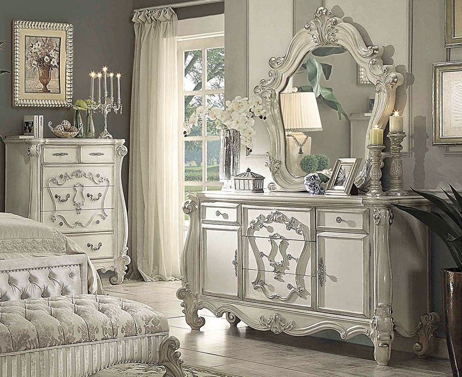 Victorian Style Bedroom Collection Is Crafted From Selected Hardwoods With Antique Bone White Finish