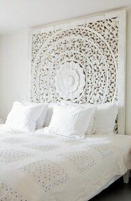 G.A.B.B.E LOVES: - White custom carved bedhead - Moroccan styling - MY IDEAL bedhead!  WWW.GABBE.COM.AU GET IN TOUCH georgia@gabbe.com.au