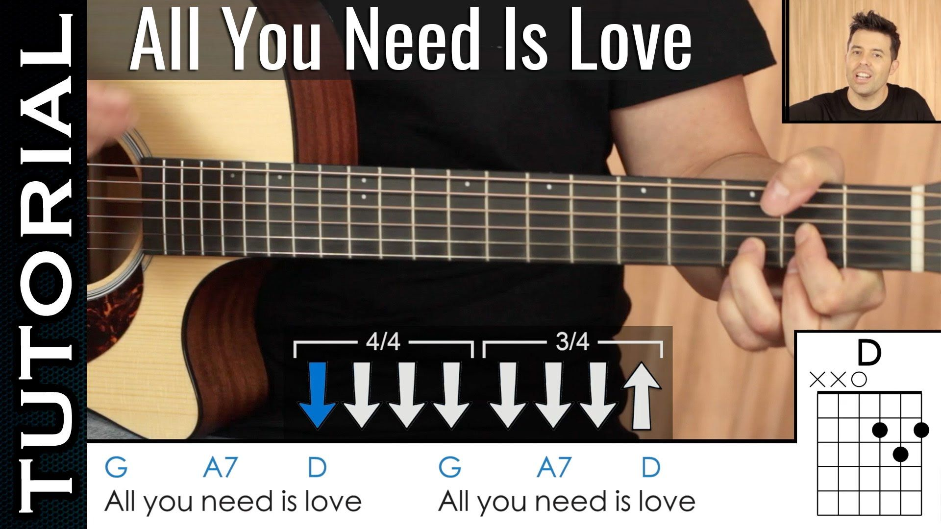 Como tocar All You Need Is Love de The Beatles en guitarra acordes