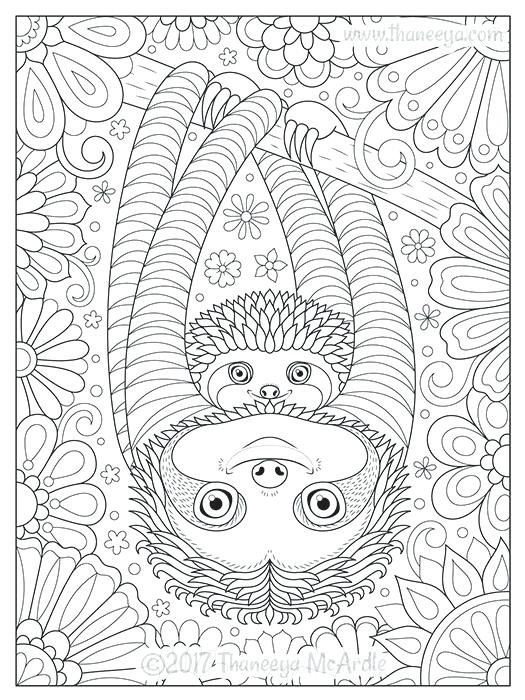 Sloth Coloring Pages Cute Sloths Coloring Page By Cute Sloth #coloringpagestoprint