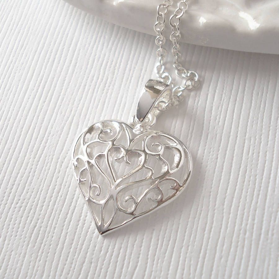 Sterling silver filigree heart necklace jewelry pinterest sterling silver filigree heart necklace mozeypictures Choice Image