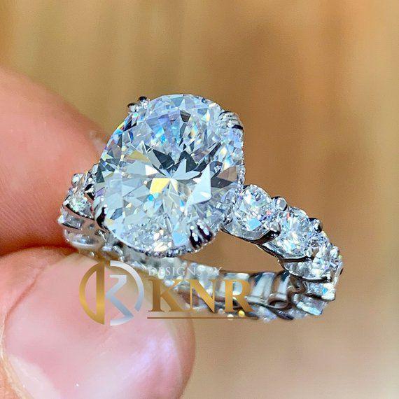 b1deb84231b40 Stunning Eternity style 14k solid white gold oval cut moissanite ...