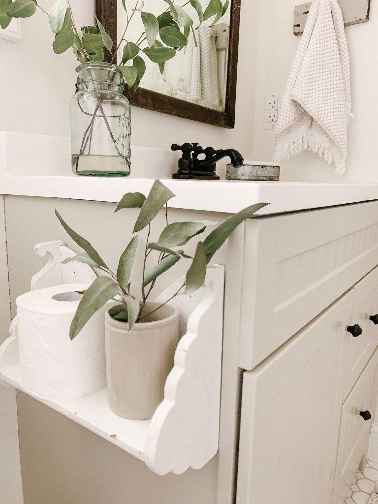 Farmhouse toilet paper shelf holder in 2020 bathroom