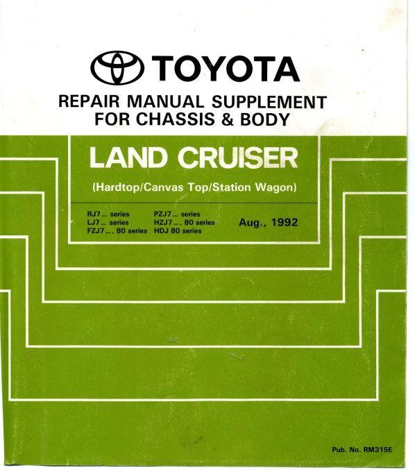 New Post Toyota Land Cruiser Rj7 Lj7 Fzj7 Pzj7 Hzj7 Hdj 80 Repair Manual Rm315e Has Been Published On Repair Manuals Toyota Land Cruiser Land Cruiser