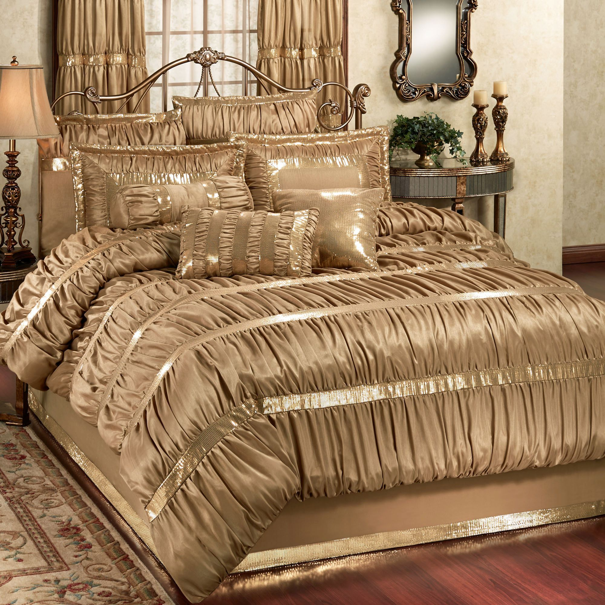 Black and gold queen comforter set - Splendor Shirred Faux Silk Dark Gold Comforter Bedding