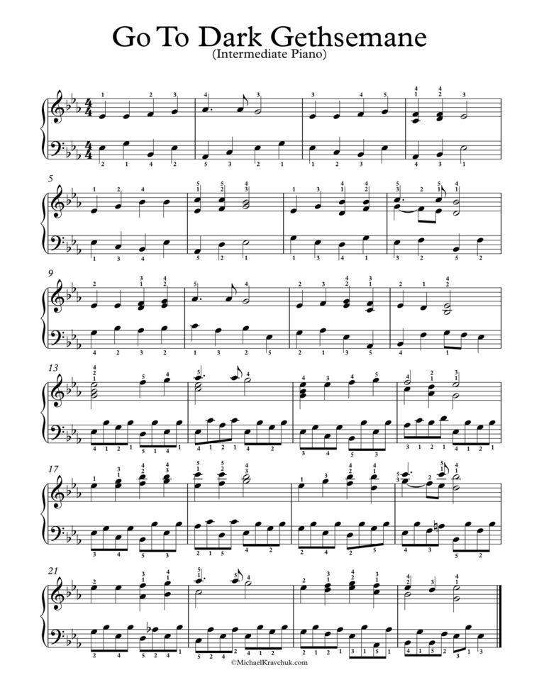 Free Piano Arrangement Sheet Music – Go To Dark Gethsemane in 2019