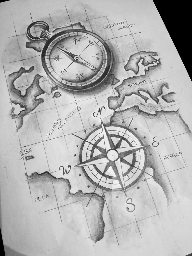 Photo of Compass, wind rose. tattoo, tattoo- compass, wind rose. tattoo, tatto …