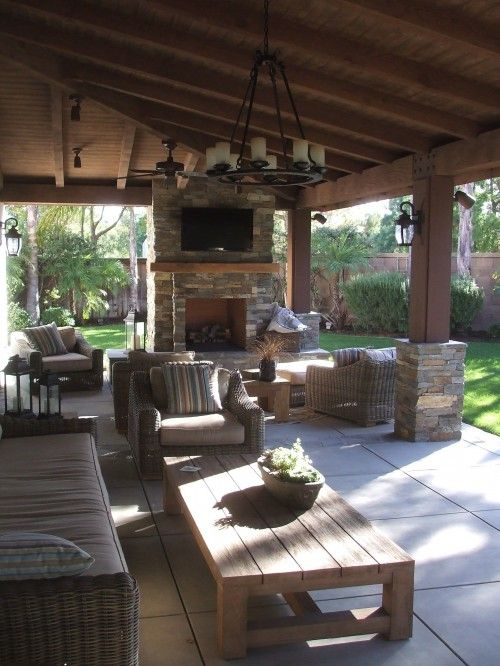 Outdoor Patio Rooms cozy covered patio with outdoor fireplace #outdoorspaces #patios