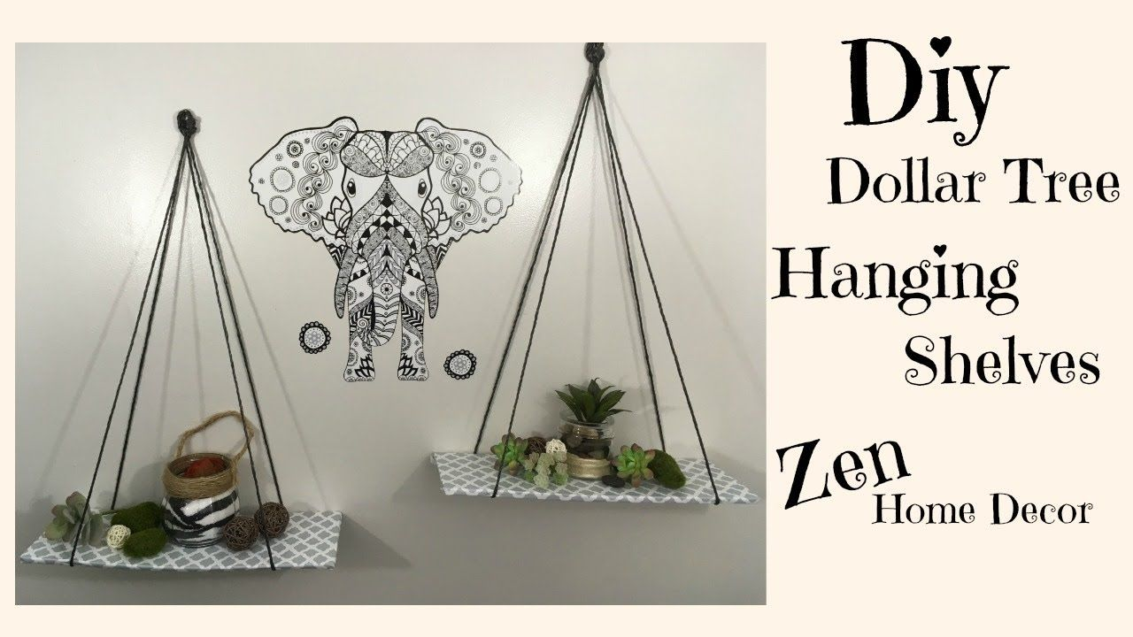DIY DOLLAR TREE HANGING SHELVES $3