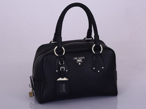 15738f06f30c Prada BL0310 Leather Boston Bag Black Handbags