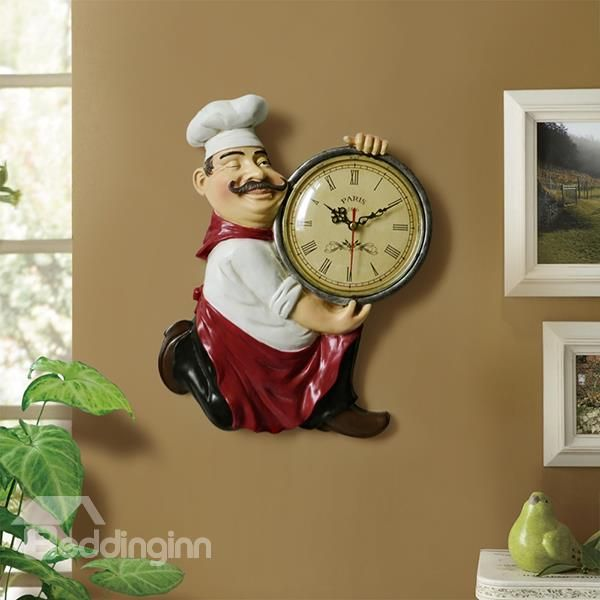 European Style Chef Design Resin Wall Clock Kitchen Dining Room Decoration On Sale Buy