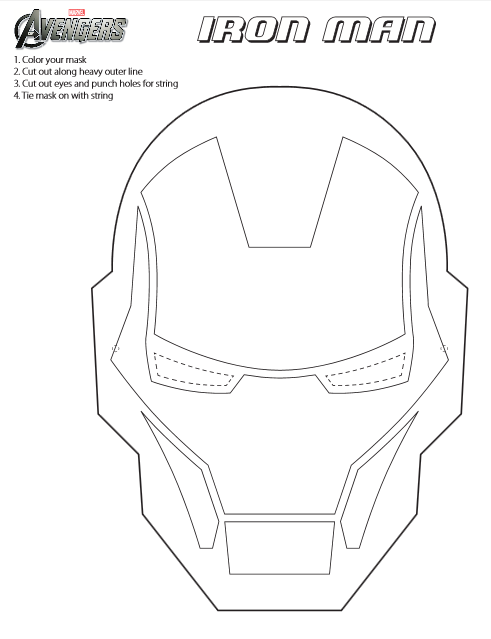 Jinxy Kids: Printable Iron Man Mask to Color #