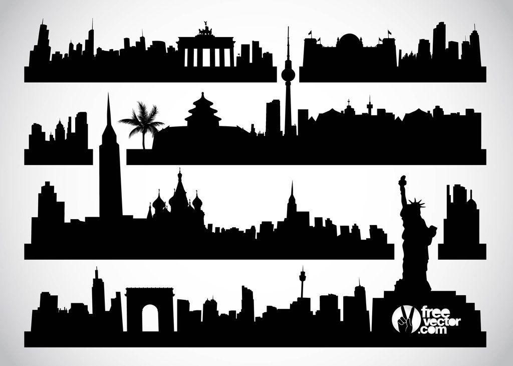 London Skyline With Text City London Skyline City Vector City Silhouette