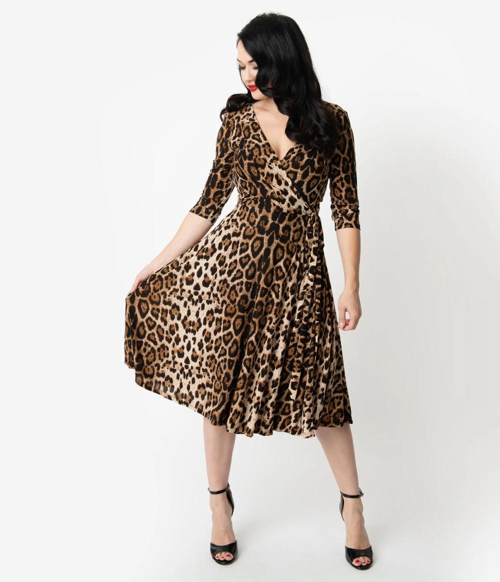 Unique Vintage Leopard Print Sleeved Kelsie Wrap Dress In 2020 Leopard Print Wrap Dress Leopard Print Fashion Unique Dresses [ 1164 x 1000 Pixel ]