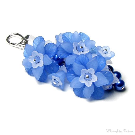Blue Mountain Flower Crystal Pearl Cluster by whimsydaisydesigns, $24.00