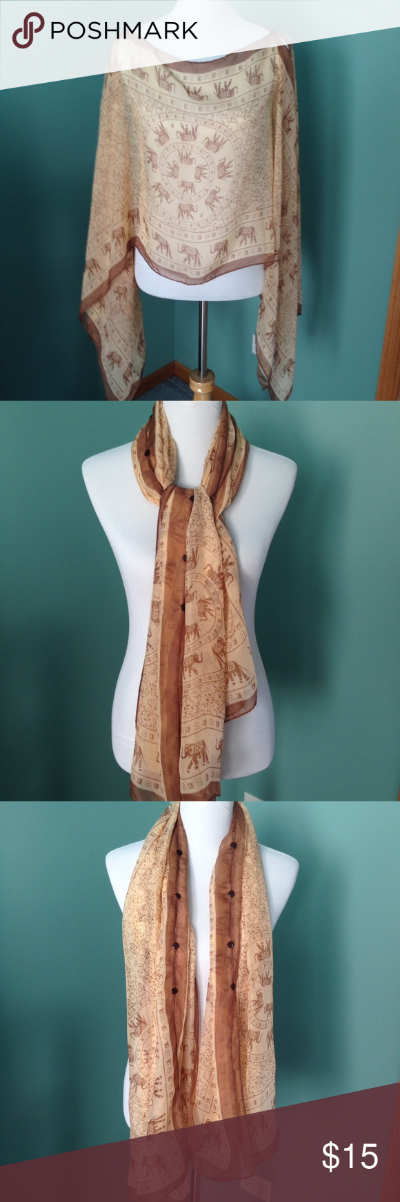 Multi purpose scarf A ancient designed scarf that can be used in different ways. It's a 2 scarf connected together with cute brown buttons. It's in excellent condition! Accessories Scarves & Wraps