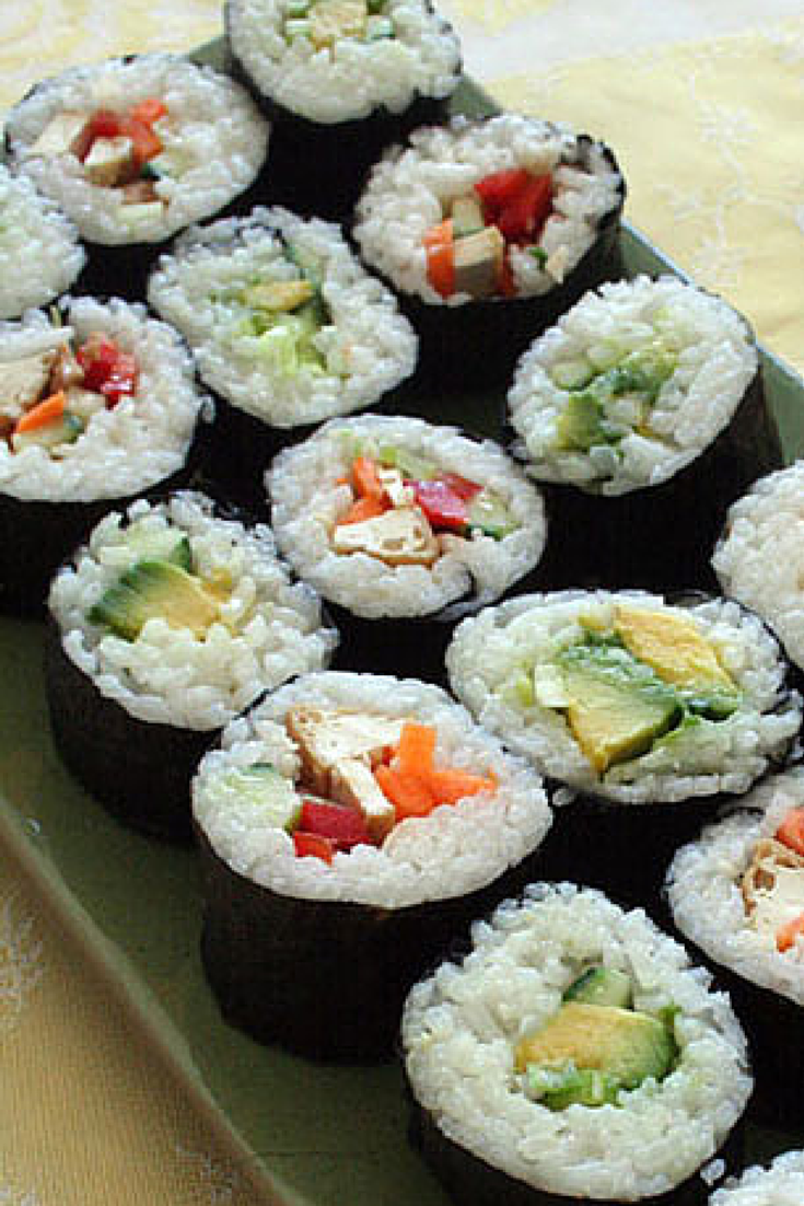 Vegan Sushi | Sushi is a great, healthy fast food. There are plenty of sushi take out places where you can buy rolls stuffed with veggies, tofu and avocado, but it's actually very easy - and cheaper if you eat a lot - to make your own. A lot of supermarkets now sell sushi ingredients so you don't have to go looking too far. It's important that you use sushi rice so that the rolls hold together. Experiment with different fillings.