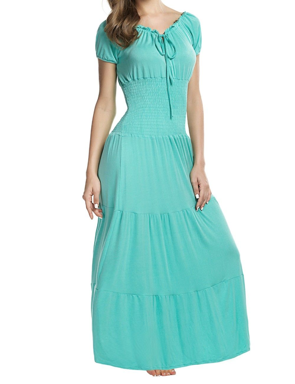 Meaneor Stylish Ladies Women Short Sleeve Tunic Ruffle Elastic Solid ...
