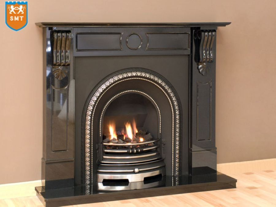 Black Granite Stone Fireplace Mantel Indoor Fireplace