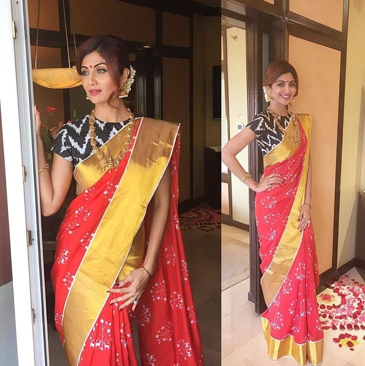 Shilpa wearing saree