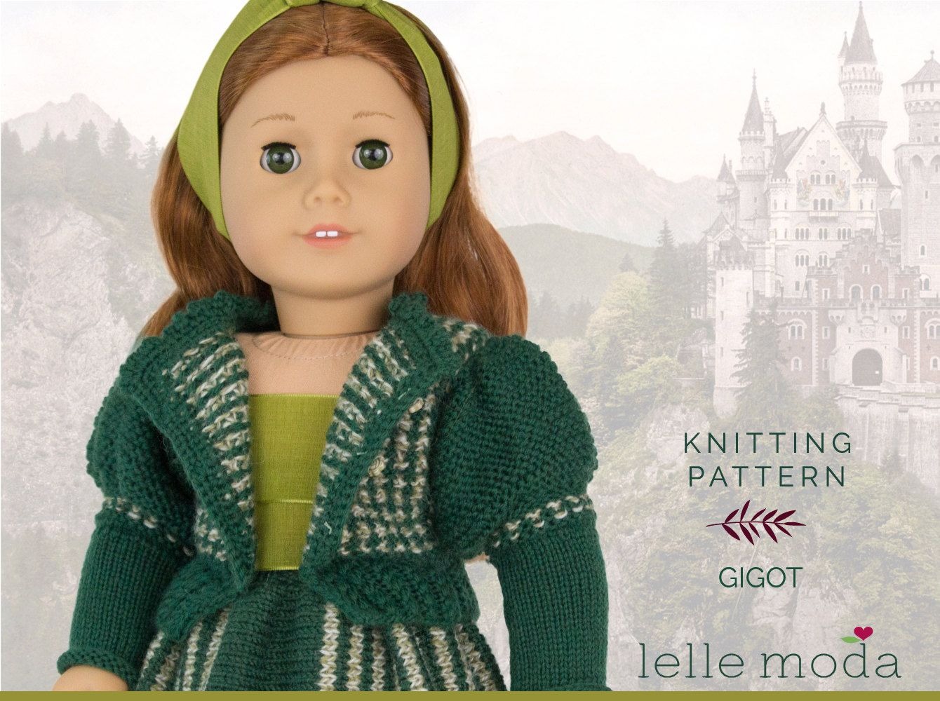 Knitting Pattern - for American Girl Dolls - Gigot Sleeve Cradigan ...