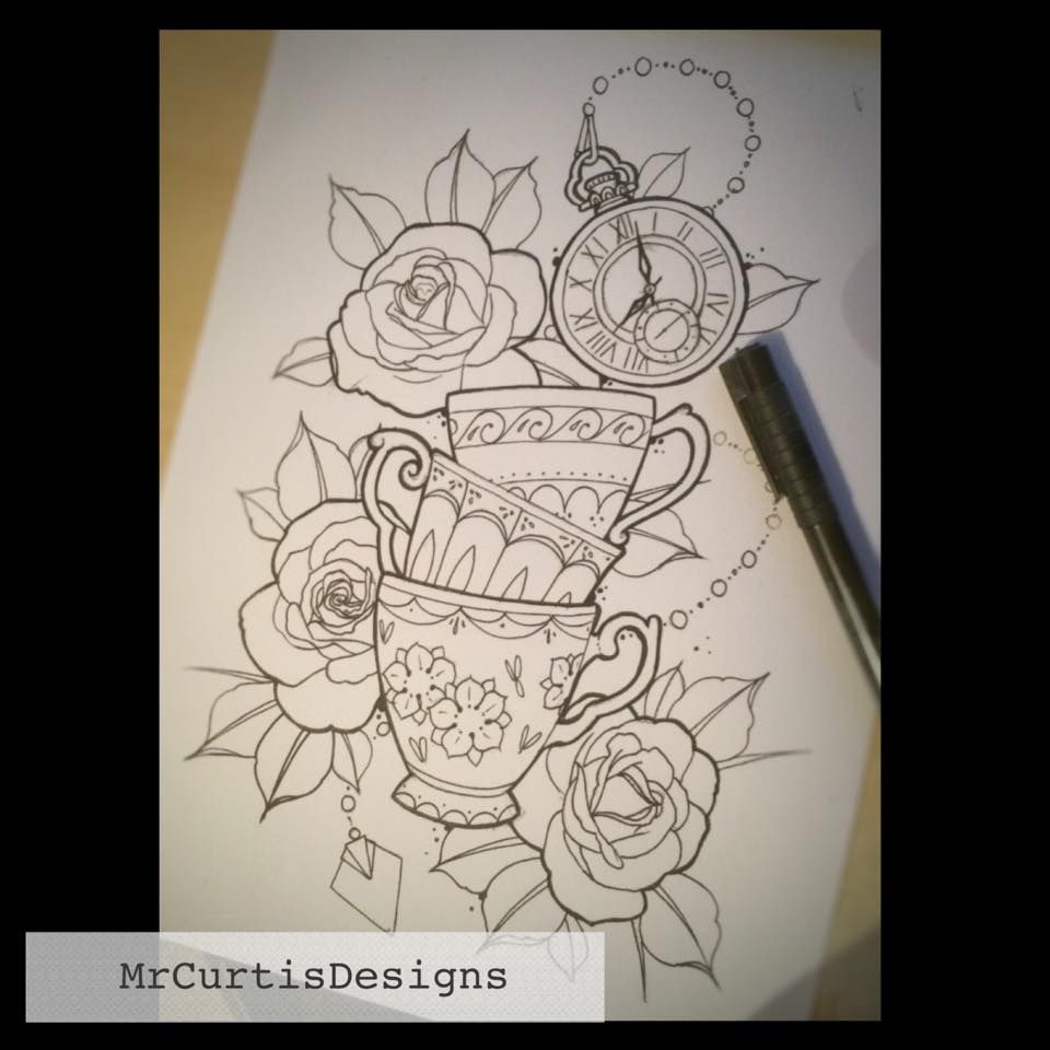 Roses and stacked teacups tattoo design by Matt Curtis. | Tattoo ...