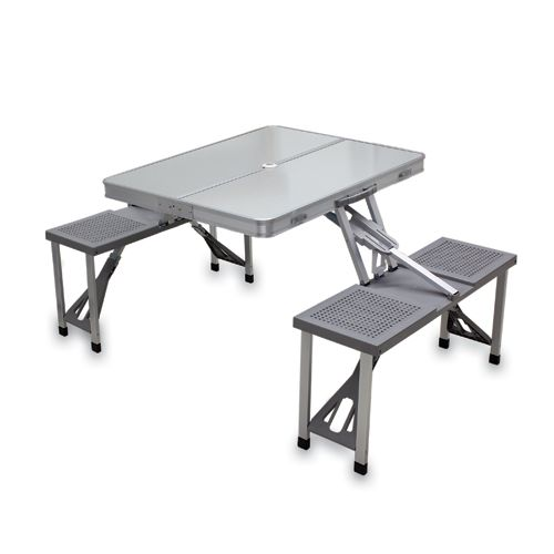 Picnic Time Gray Portable Folding Table With Seats Folding