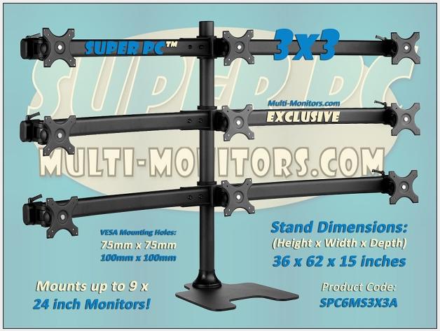 Super Pc 9 Monitor Desk Stand 3x3 Single Base Rack Mount Monitor Screen Stands Monitor Stand