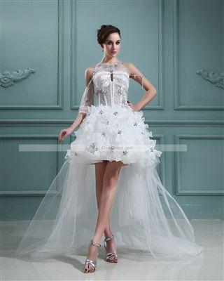 Organza Beaded Sweetheart Short Bridal Gown Wedding Dress