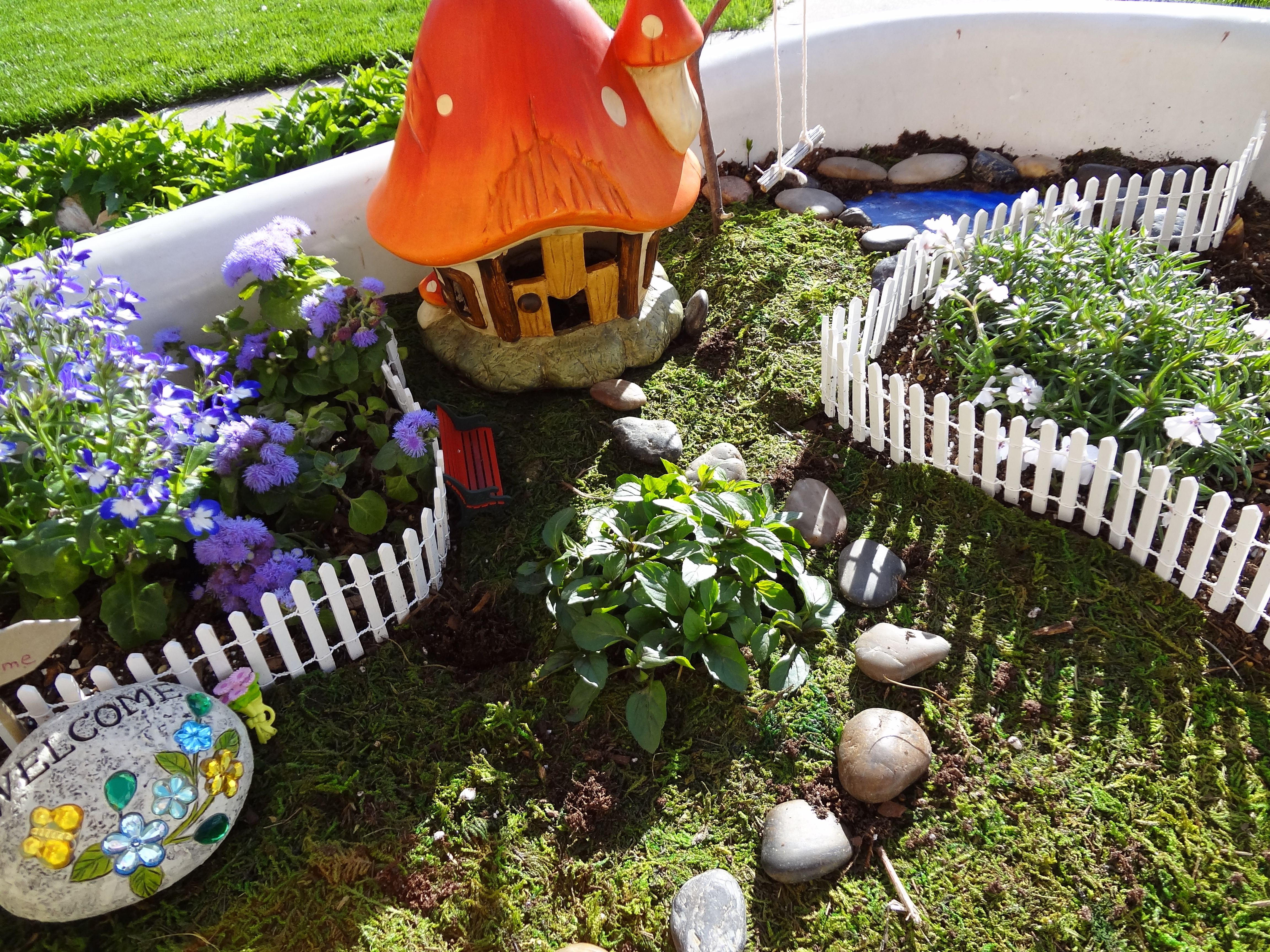Fairy Village In My Antique Bathtub Planter: Dept. 56 Fence $8, Dept. Ideas