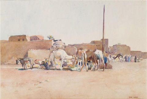 Peinture Algérie - La halte des chameaux von Paul Alexandre Alfred Leroy