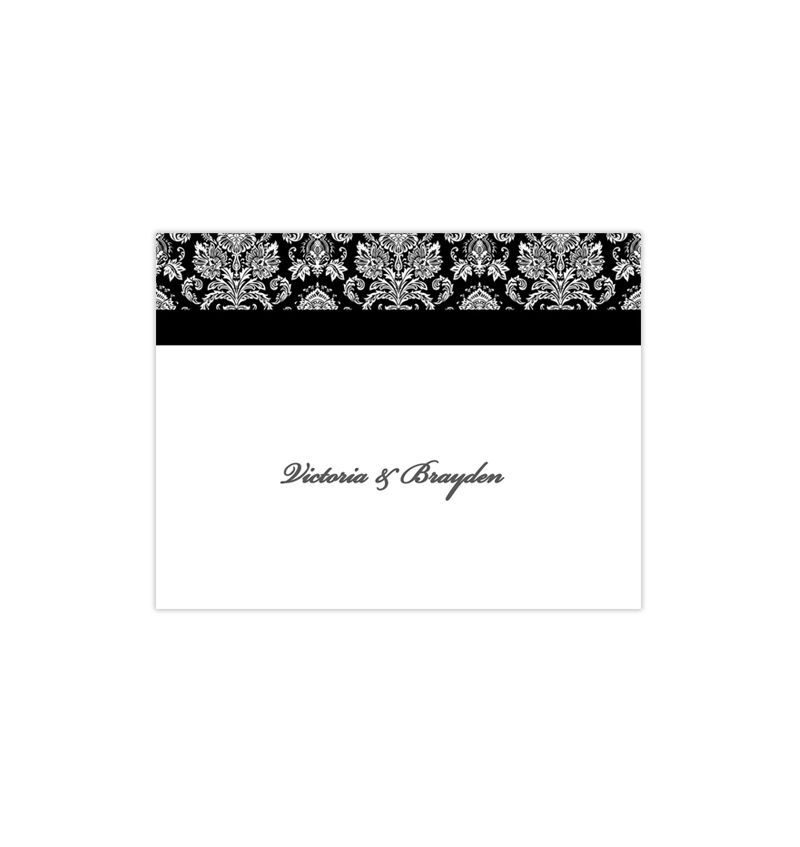 Wedding Thank You Card Victorian Damask Black White in 2018
