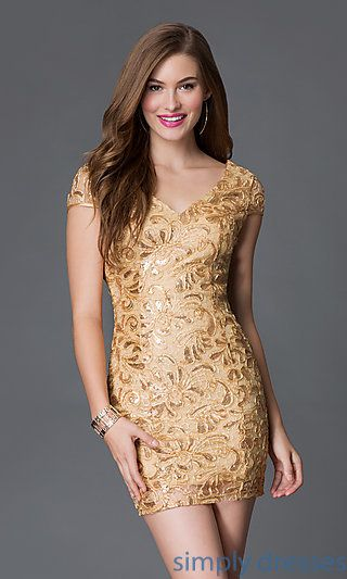 Short Sequined Lace Backless Cocktail Dress