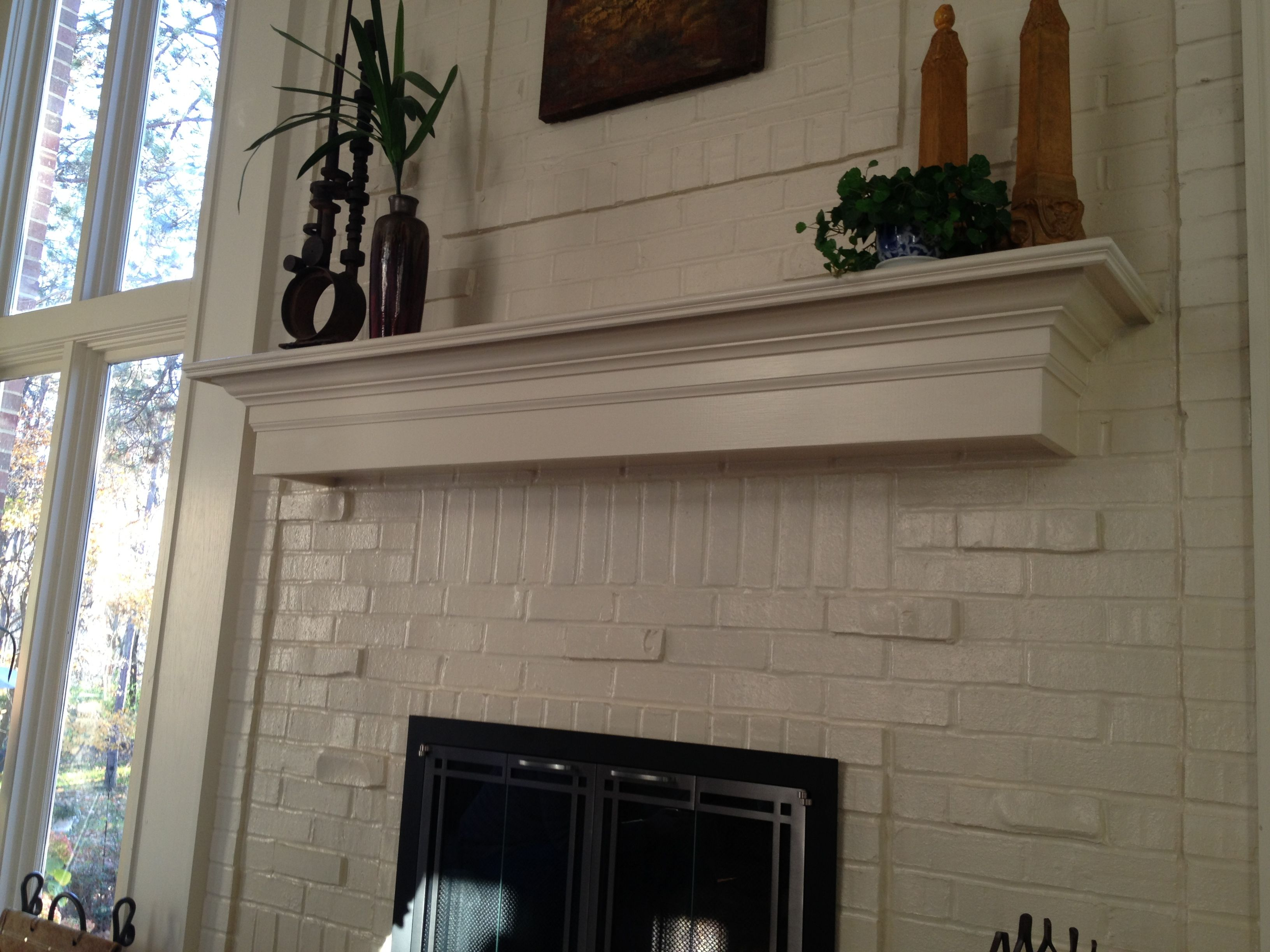 Mantel Ideas For Brick Fireplace White painted brick and white