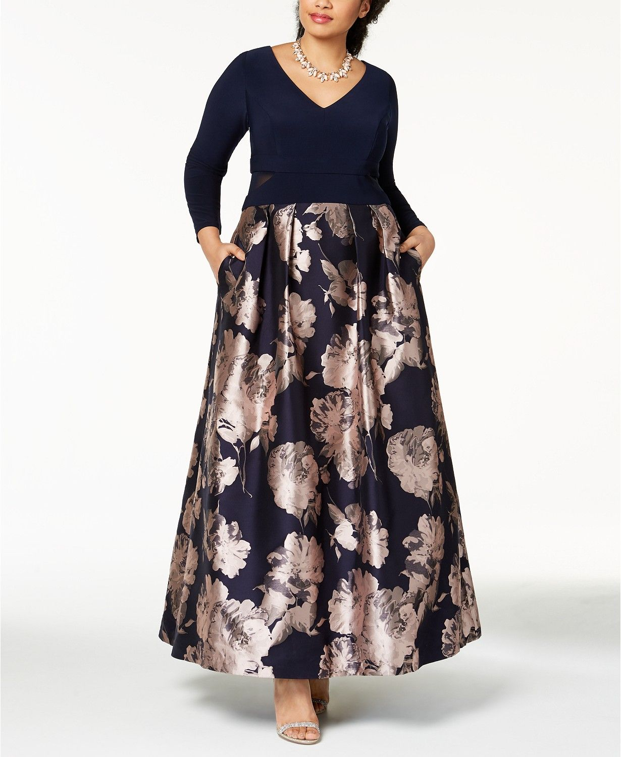 Xscape Plus Size Illusion Brocade Ball Gown - Dresses ...