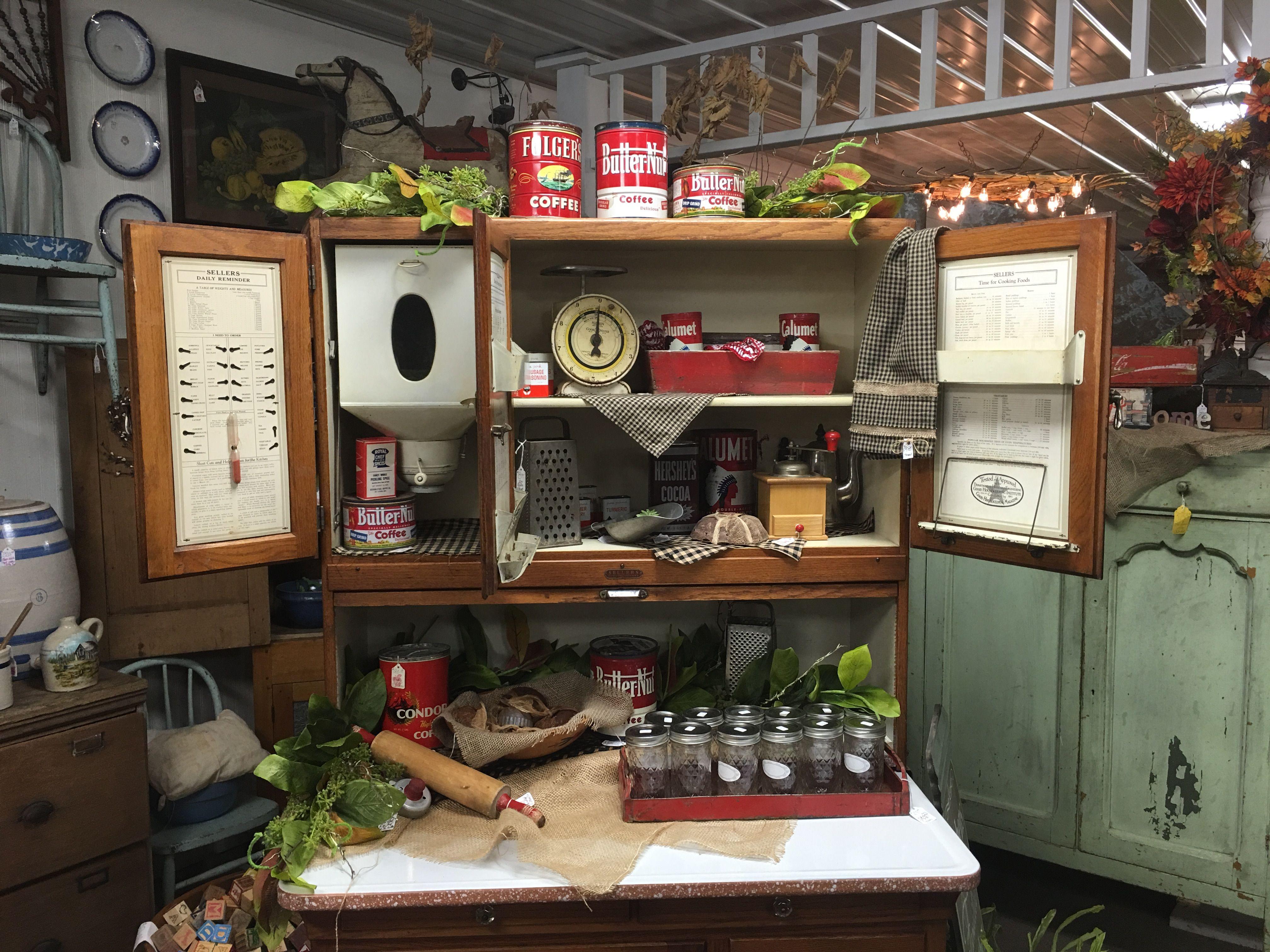 Fun Antique kitchen cabinet display!