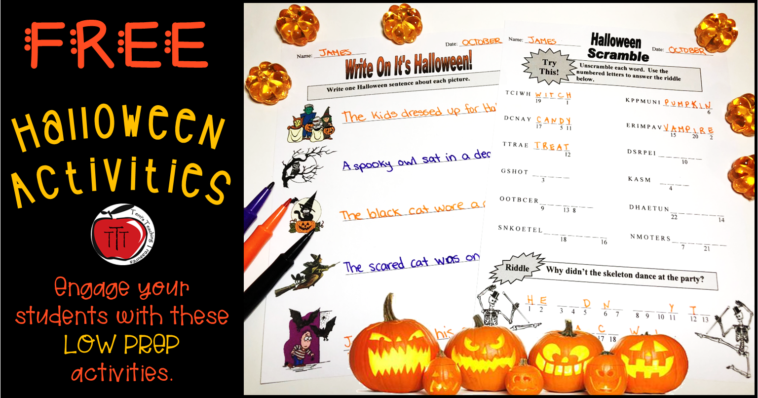 Free Halloween Literacy Worksheets