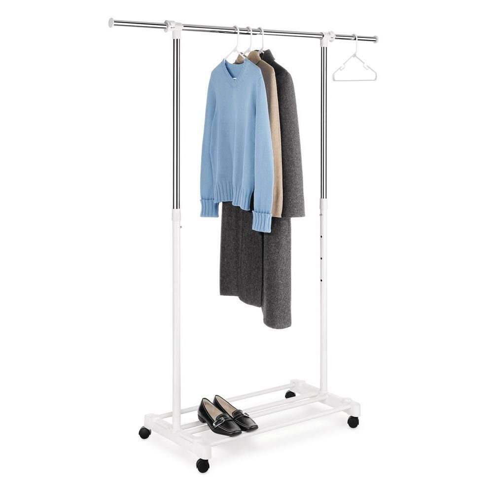 Home Depot Garment Rack Awesome Deluxe Adjustable Garment Rack With Wheels White  Garment Racks Review